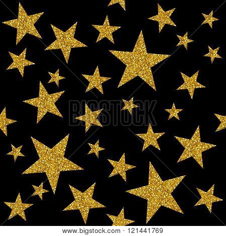 Seamless Pattern With Gold Stars On Black Background. Vector Illustration.