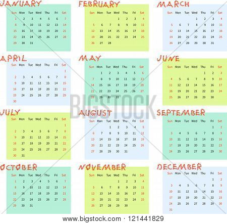 Calendar For 2017 Year. Week Starts On Sunday. Vector Illustration.