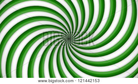 Green and white rotating hypnosis spiral