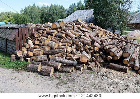 Stabel Of sawn Birch Firewood