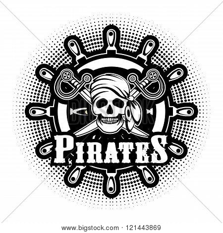 Sea pirate skull bandana on the background of the wheel black and white Jolly Roger logo on a white background