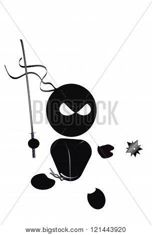 Funny black ninja with a sword and shuriken