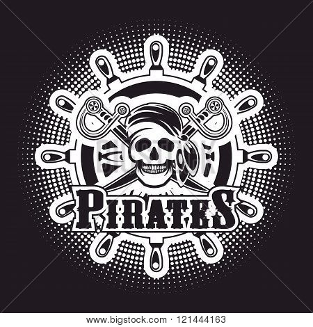 Sea pirate skull bandana on the background of the wheel black and white Jolly Roger logo on a black background