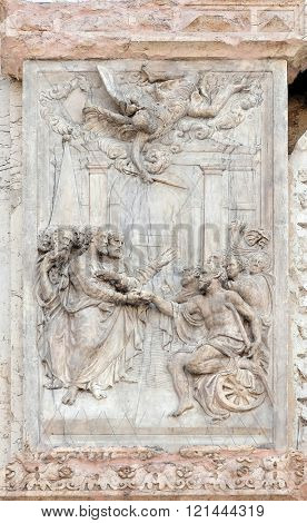 BOLOGNA, ITALY - JUNE 04: The Pool of Bethesda, panel by Teodosio Rossi on the left door of San Petronio Basilica in Bologna, Italy, on June 04, 2015