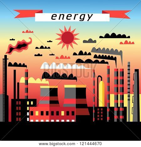 Graphic image plant and thermal power plant at sunse