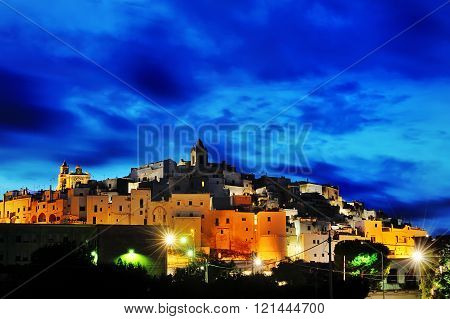 Ostuni Panoramic View At Blue Hour, Italy, Europe