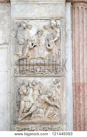 BOLOGNA, ITALY - JUNE 04: Jacob and the Angel by Niccolo Tribolo up and Benjamin brings the cup to Pharaoh by Francesco da Milano, left door of San Petronio Basilica in Bologna, Italy, on June 04,2015