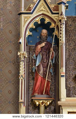 STITAR, CROATIA - AUGUST 27: Saint Philip statue on the main altar in the church of Saint Matthew in Stitar, Croatia on August 27, 2015