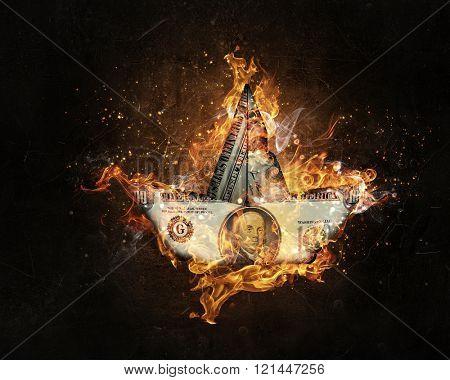 Dollar in fire flames