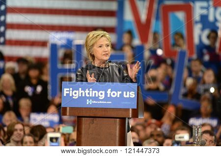 Saint Louis, MO, USA -? March 12, 2016: Democratic presidential candidate and former Secretary of State Hillary Clinton campaigns at Nelson-Mulligan Carpenters?? Training Center in St. Louis.