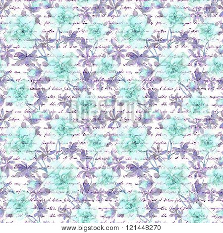 Blue flowers and hand writing text letter. Watercolour. Seamless pattern