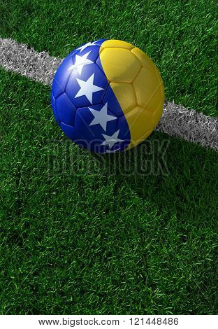 Soccer Ball And National Flag Of Bosnia And Herzegovina,  Green Grass