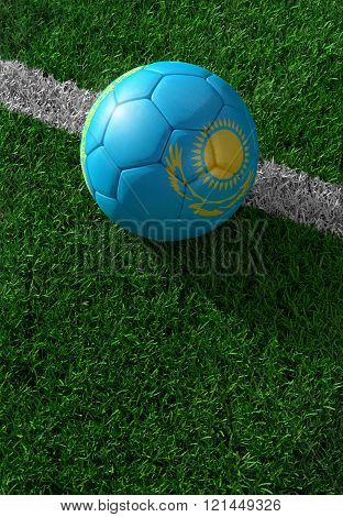 Soccer Ball And National Flag Of Kazakhstan,  Green Grass