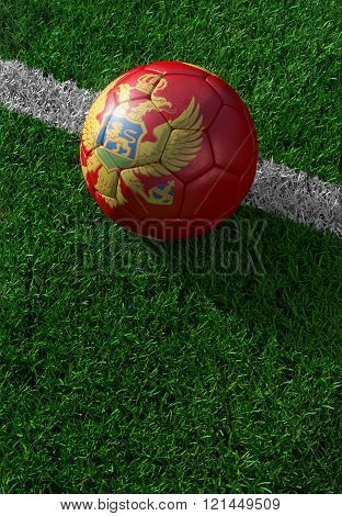 Soccer Ball And National Flag Of Montenegro,  Green Grass