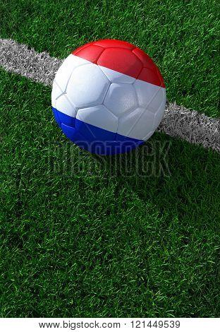 Soccer Ball And National Flag Of Nederland,  Green Grass