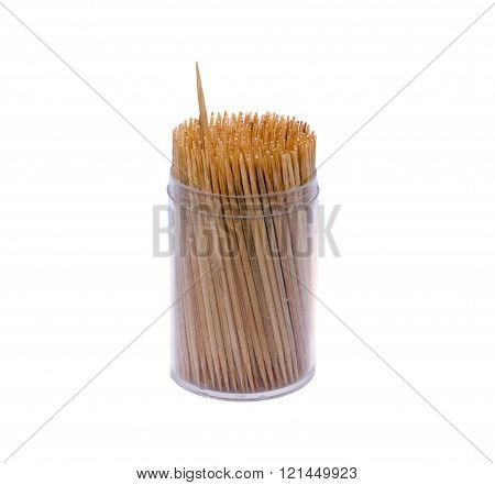 Toothpicks In A Box. Isolated On White Background With Clipping Path And Copy Space
