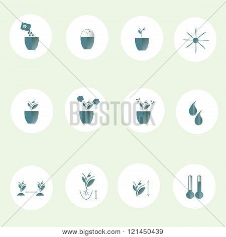 Flat round icons farming cultivation of seeds and plants. The pastel blue marks on whit