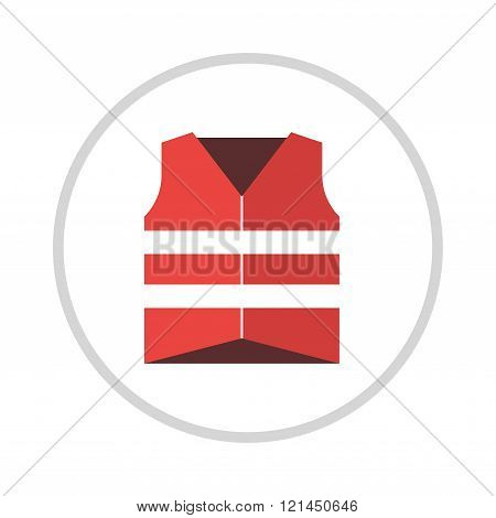 Life vest jacket flat icon vector icon illustration.