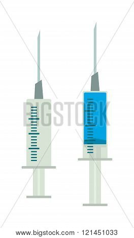Illustration syringe with blue liquid