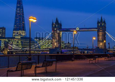 Tower bridge and Shard by night in London.