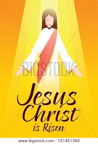Jesus Christ Is Risen In Orange Background With Typography Art