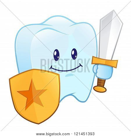Tooth Holding A Shield And Sword