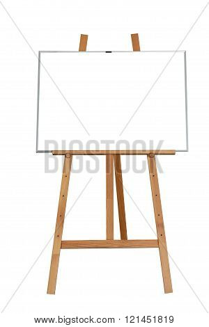 Blank wood storefront chalkboard label isolated on white background