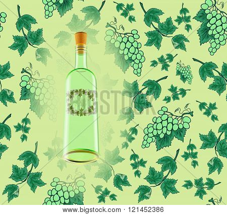 Wine Bottle With Seamless Grape Background