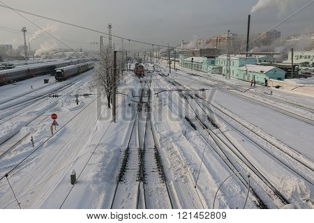 Railway and white snow