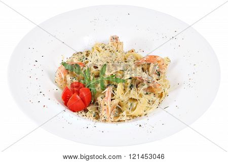 Italian Cuisine Fettuccine, Pasta With Shrimps, In White Serving Dishes.