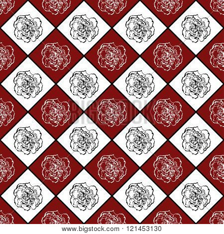 Red And White Vector Seamless Chess Styled Vintage Texture With Clove Flower. Vector Illustration
