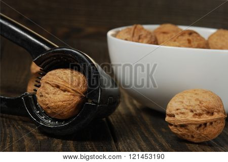 Walnuts On The Wooden Background