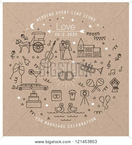 WEDDING LINE ART ICONS COLLECTION. Can be used for wedding invitation design, cards, websites and more... Editable vector illustration file.