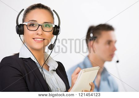 Marketing team measuring the customer satisfaction level by calling clients and asking them some questions