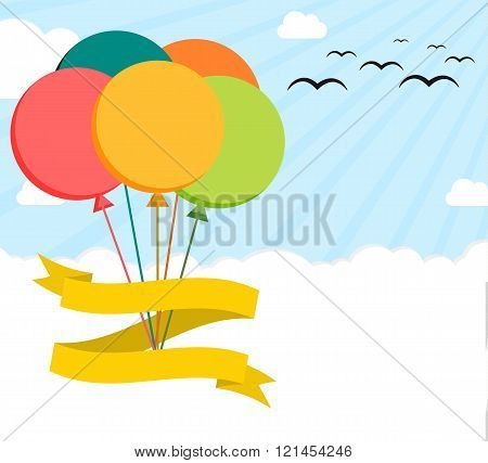 Colorful flat illustration poster with helium balloons on sky blank ribbon and enought copyspace