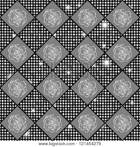 Silver Vector Seamless Chess Styled Vintage Texture With Clove Flowers And Shining Rounds. Vector Il