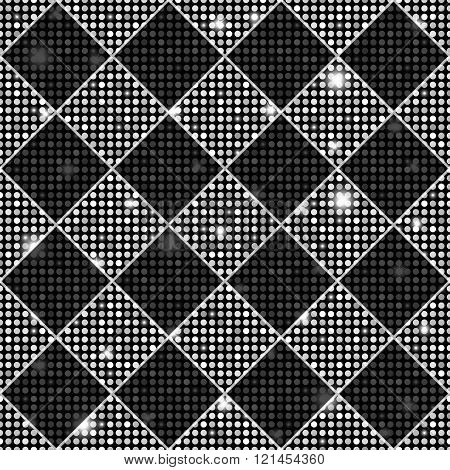 Silver And Black Vector Seamless Chess Styled Vintage Texture With Clove Flowers And Shining Rounds.