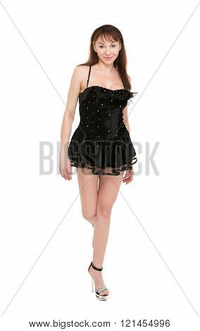 Seductive Woman In A Very Short Black Dress