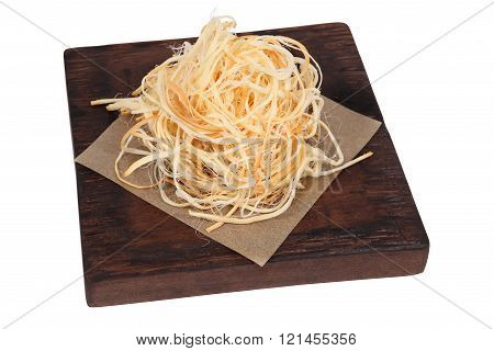 Beer Appetizer Cheese Braid, Portion On Dark Brown Wooden Board.