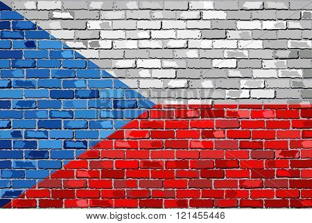Flag of Czech Republic on a brick wall.eps