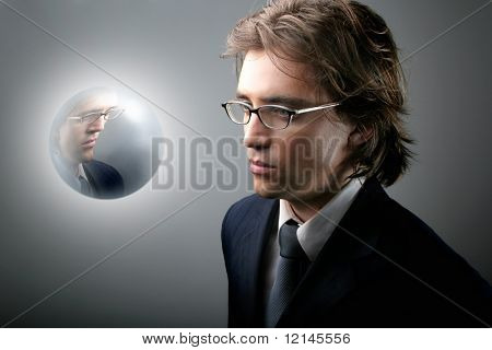 a portrait of a business man with a crystal sphere