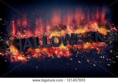 Dramatic Halloween poster with burning hot flames and fiery explosive sparks on a dark background with text - Halloween