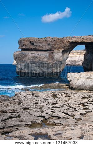 The Famous Blue Window Dwejra On The Island Of Gozo,