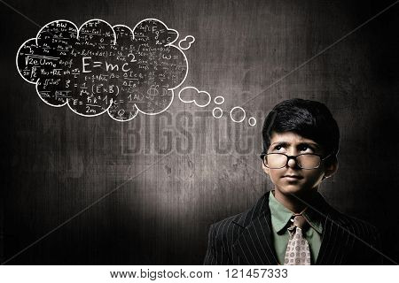 Genius Little Boy Wearing Glasses, Thinking Cloud Science