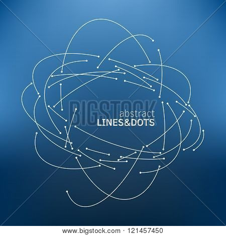 Vector orbit lines. Modern pattern with round stripes and points. Abstract crossing circle lines. Stylish lines and points technology illustration. Isolate digital elements and text template.