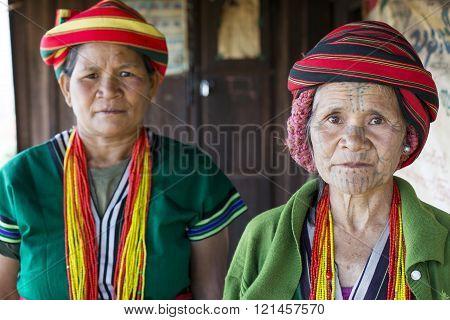 Chin tribe tattooed faced women (Muun)
