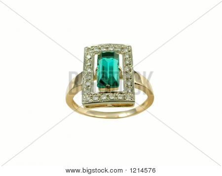 Golden Emerald & Diamond  Ring