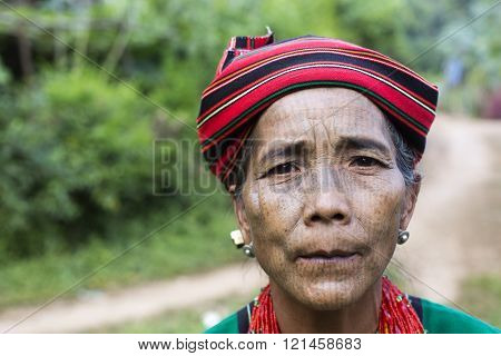Chin tribe tattooed faced woman (Ngagah)