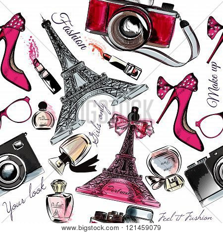 Vector Seamless Fashion Background With Perfume Eifel Tower Shoes Sandals Flowers And Lipstick