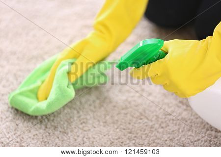 Woman in rubber gloves cleaning carpet at home, close up